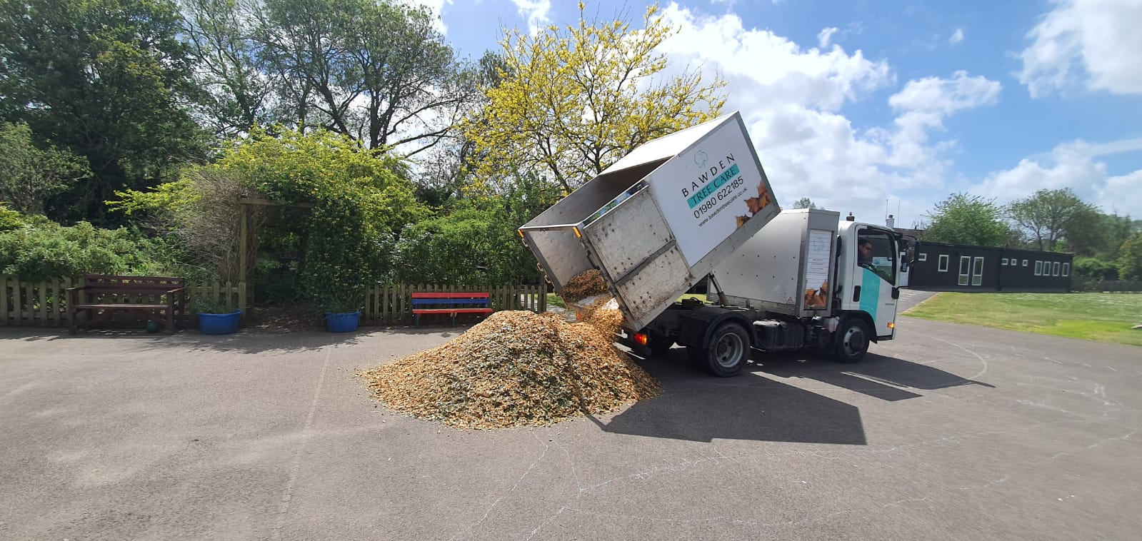 donating woodchip to a local primary school